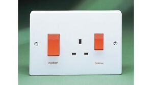 45A Oversize DP Cooker Control Unit with 13A Switch Socket Outlet CRA4520/1