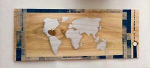 Carte du monde Décoration murale - Panneau en bois fait main