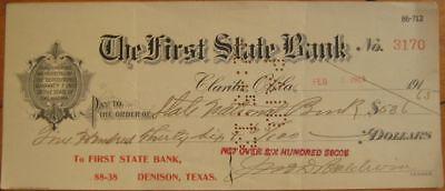 1913 Check: 1st State Bank - Clarita, OK & Denison, TX
