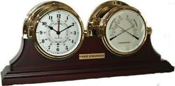 Brass Tide Clock and  Brass Thermometer Hygrometer on Stand