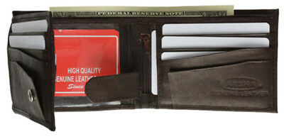Fine Leather Wallet - Men's Fine Leather Bifold Wallet ID Window Flap Out Credit Card Money Holder