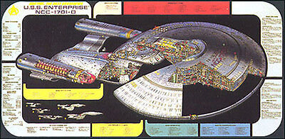 Original Vintage Star Trek Next Generation Cutaway Poster W Tech Data  24  X 36