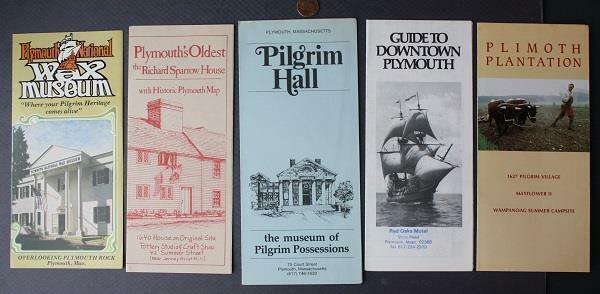 1970s Era Plymouth Massachusetts Wax Museum Sparrow House FIVE brochure set-COOL