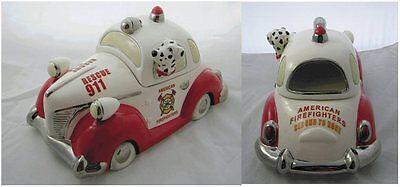 Cavanagh American Firefighter Fire Rescue Car Cookie Treat Jar Dalmatian NIB