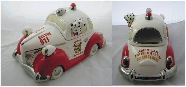 Cavanagh American Firefighter Fire Rescue Car Cookie Treat Jar Dalmatian NIB