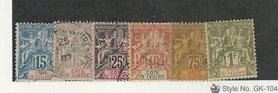 Ivory Coast, Postage Stamp, #7-8, 10, 13, 16-17 Used, 1892
