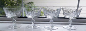 PINWHEEL CRYSTAL CHAMPAGNE SHERBET GLASSES SET OF 4 - MINT