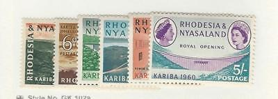Rhodesia & Nyasaland, Postage Stamp, #172-177 Mint Hinged, 1960 Kariba for sale  Shipping to South Africa