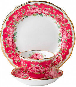ROYAL DOULTON CUP SAUCER PLATE SET IN  BOX ROYAL ALBERT SENTIMENT PINK ROSE