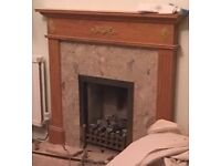 Marble Fireplace & Wood Surround