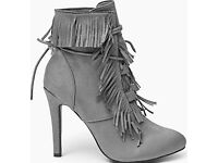 Grey fringe boots heels Shoes Faux suede size 5/38
