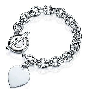 .925 Sterling Silver Engravable Heart Charm Rolo Link Toggle Bracelet