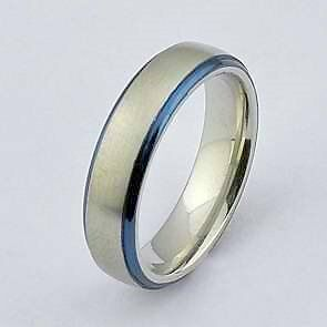silver and blue genuine stainless steel s ring wedding