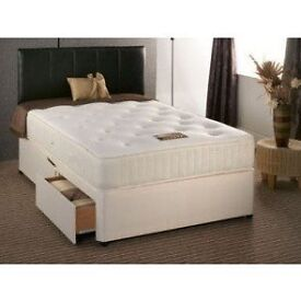 Less than 6 month old double bed divan with mattress, inc. 4 drawers and headrest