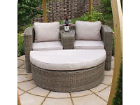 NEARLY NEW BENTLEY GARDEN RATTAN COMPANION SET WITH FOOTSTOOL.