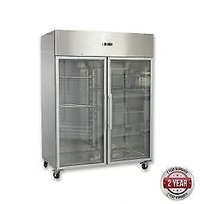 Two Glass Doors Upright Fridge 1200L - For Sale