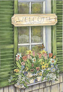 Buy flag and banner box - Summer Welcome Flowers In Window Box Large House Flag 29x43 Banner  By Evergreen