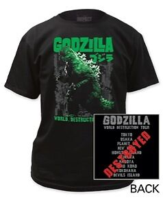 New Authentic Mens Godzilla World Destruction Tour Tee Shirt