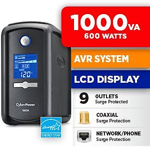 UNopened - NEW - 1000 VA 9-Outlet CyberPower Intelligent LCD UPS