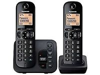 New Panasonic KX-TGC222EB Digital Cordless Phone with LCD Display - Black (Pack of 2)