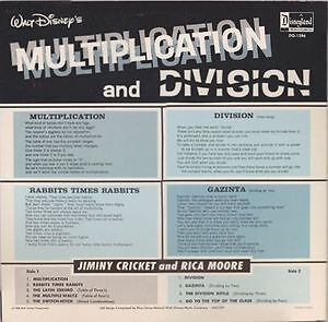 Walt Disney's Multiplication And Division Vinyl LP 1969 Kingston Kingston Area image 2