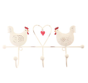Shabby Vintage Chic Style Metal Hooks Heart Bird Hen Owl Country Cottage
