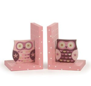 Owl Bookends, Wise Owl, Priscilla, Owl & Branch,3 Different Bookends, Pink Blue