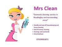 Domestic cleaning service in Headingley and surrounding areas.