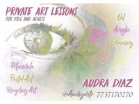 Private art lessons for kits and adults