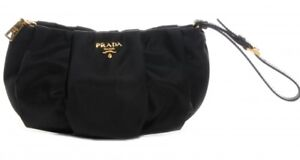 Authentic PRADA Vela Necessaire Clutch with Wristlet Strap