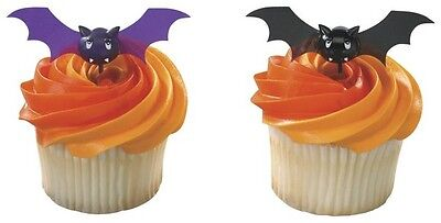 12 Bats Halloween Cupcake Toppers Picks Black and Purple Bat Party