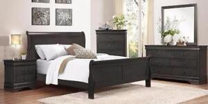 Queen Grey Louis Phillip Sleigh Bed Regular Retail $699Now $249