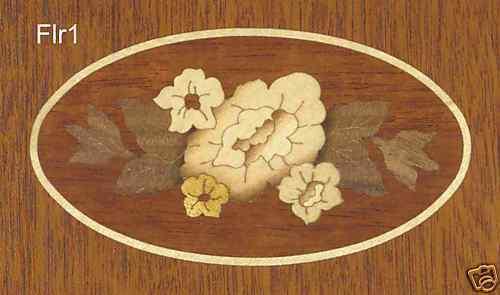 Oval Floral Veneer Inlay Marquetry Flr1 Mahogany Or Black