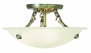 Livex Lighting 4272-01 Oasis 3-Light Ceiling Mount Antique Brass