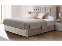 SAME DAY FAST DELIVERY= BRAND NEW CRUSHED VELVET DIVAN BED WITH 9 INCH THICK DEEP QUILT MATTRESS