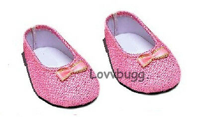"Pink Glisten for 18"" American Girl or Bitty Baby Doll Shoes Clothes"