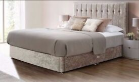 ==SUPER SALE== NEW COLORS ==BRAND NEW DOUBLE CRUSH VELVET DIVAN BED WITH DEEP QUILTED MATTRESS