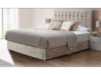 ❤❤DOUBLE BED+MATTRESS £129🔥 DOULBE/KING CRUSHED VELVET DIVAN BED w 9INCH THICK DEEP QUILT MATTRESS