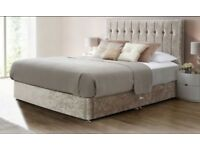 "CLASSIC Single, Double, Small Double Or King Crushed Velvet Divan Bed 9"" DEEP QUILTED Mattress"