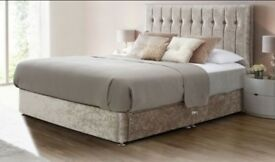 Brand New DOUBLE Divan Crushed VelvET with a range of MATTRESSES+2 TYPES OH HEAD BOARD