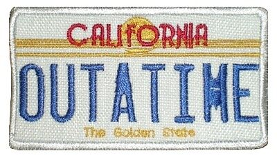 Back to the Future Embroidered Patch Delorean Outatime Licence Plate Flux Fusion