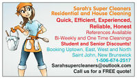 "SARAHS SUPER CLEANERS ""COVERING SJ,HAMPTON,ROTHESAY,QUISPAMSIS!"