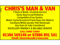MAN AND VAN motorcycle/furniture/part removals/collection/delivery sevice.