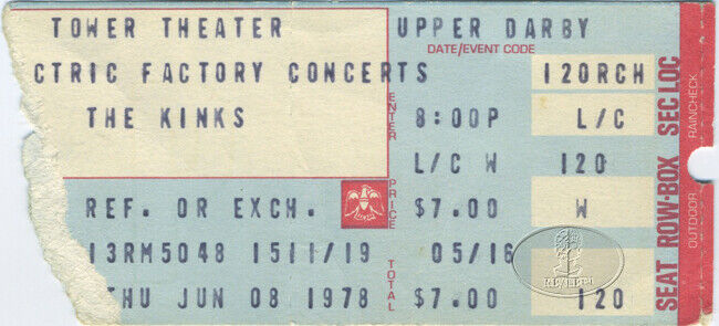 THE KINKS 1978 TOUR Unused Concert Ticket Stub
