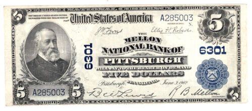 1902 BS $5 The Mellon NB of Pittsburgh, Pennsylvania Ch 6301. XF. Y00006149
