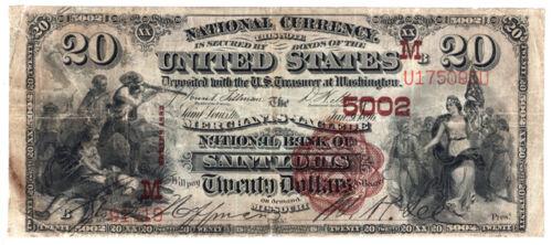 1882 $20 Brown Back The Merchants-Laclede NB of Saint Louis, Missouri Ch 5002 F