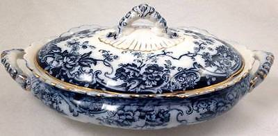 Keeling Co Chatsworth Losol Ware Lrg Oval Dish Tureen Lid Late Mayers Flow Blue