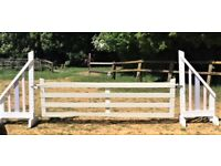 Show jumping gate with NEW pink, lilac & white wings and cups