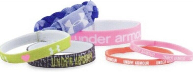 NWT Under Armour Girls UA Graphic Wristbands 6 pk Youth Model #1274131