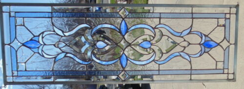 Stained Glass Transom window hanging  36 X 12 1/2